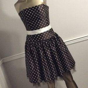 Vintage Brown Polka Dot Strapless Dress